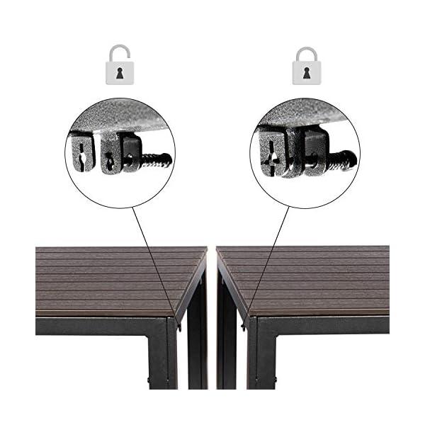 Park Alley HDPE Stahltisch braun- Eckiger Gartentisch in Holzoptik - Beistelltisch für Garten, Terrasse und Balkon…