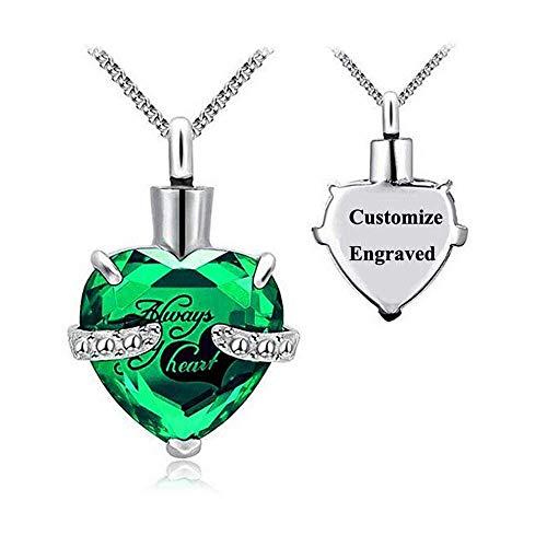 QZH Collar con colgante de urna de corazón de acero inoxidable con grabado gratuito para cremación, joyería de cenizas, recuerdo con kit de relleno y caja de regalo, piedra natal, verde