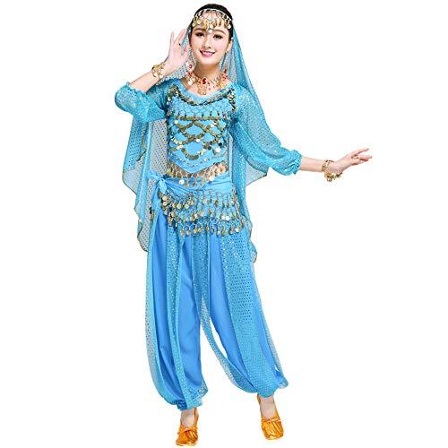 Xinvivion Mujer Profesional Danza del Vientre Disfraz Bollywood Indio rabe Bailando Rendimiento Outfits Traje (Azul,Ajuste 45-70 KG)