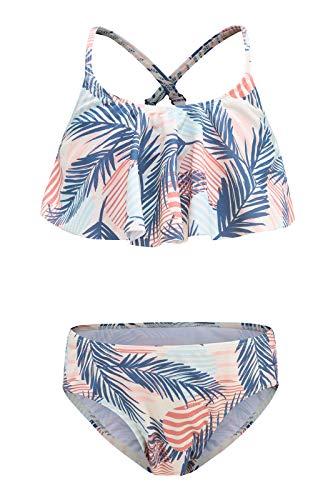 Moon Tree Mädchen Bikini Badeanzug Rüschen Hawaiian Badeanzug Strand Regenbogen, Palm Tree/Two Piece, 13-14 Jahre
