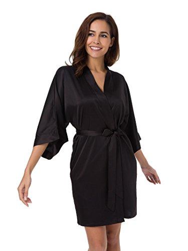 SIORO Mujer satén vestido pijama dama de honor vestido pijama Suaves Ropa Dormir Camisón Lencería corto negro XL