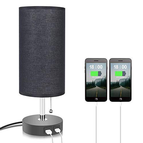 Jorunhe USB-Tischlampe, moderne Nachttischlampe mit USB-Anschluss zum Aufladen Ihrer Geräte, Umgebungslicht, Stoffschirm, Nachttischlampe, perfekt für Schlafzimmer (schwarz)