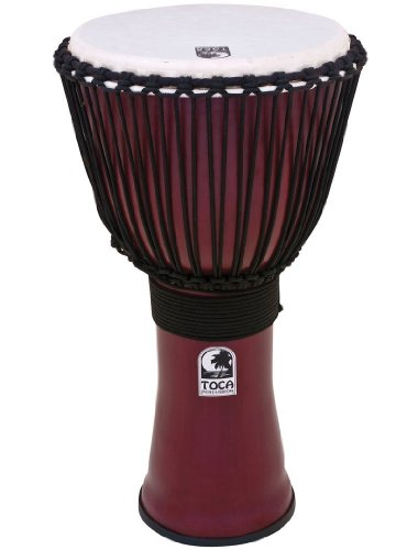 Toca To809282 Tf2Dj-12R Djembe Freestyle II 12' Dark Red Synth. Head Rope Tuned