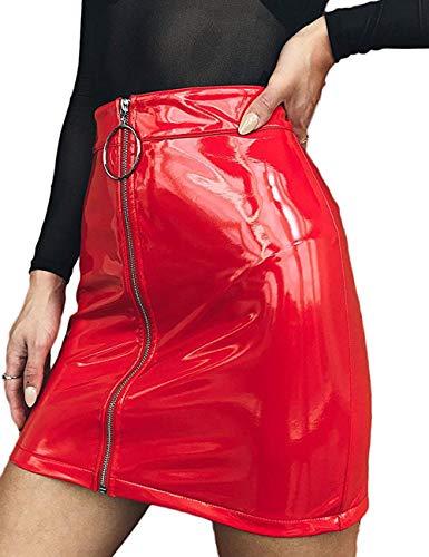 I3CKIZCE Damen-Minirock aus Kunstleder mit Reißverschluss, kurzer Taille, hoher Taille, schmale Passform, lässig, sexy, elegant, Rot M