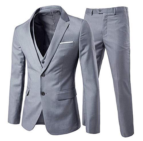 Trajes para hombre de 3 piezas regulares de ajuste delgado traje de boda para hombres de negocios casual trajes de boda chaqueta chaqueta chaleco pantalones