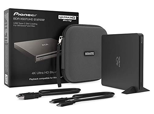 Pioneer BDR-XS07UHD 4K Blu-Ray Portable Burner & DVD Player - 6X Slim External BDXL, BD, DVD & CD Drive for Windows & Mac w/ 3.0 USB, CD Player, Write & Read on Laptop or Desktop w/ Carry Case (Black)