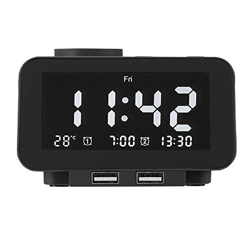 Topiky Radiowekker, Smart Bedside Elektronische led-FM-wekker met dubbele USB-functie, 5-traps licht, voor slaapkamer/woonkamer, EU.