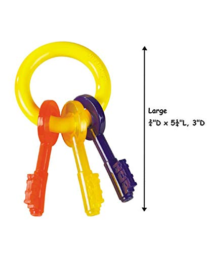 Puppy Teething Toy Key Ring Colorful Safe For Puppies Dogs to Chew - Choose Size(Large)
