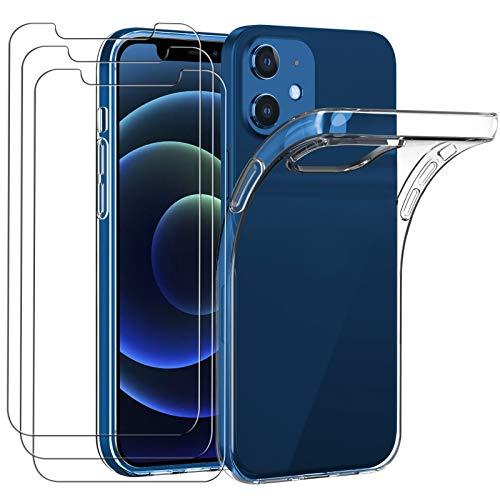 iVoler Custodia Cover Compatibile con iPhone 5.4 Pollici 12 Mini con 3 Pezzi di Vetro Temperato Incluso, Cover Protettiva Antiurto Morbida e in Silicone, Trasparente