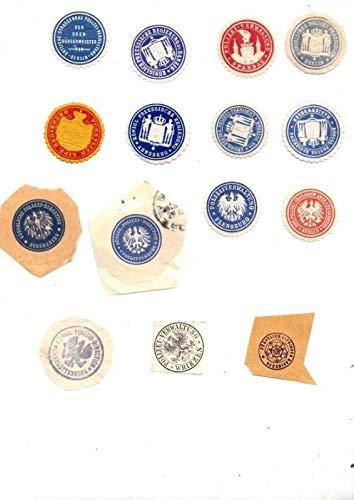 Konvolut mit 12 Siegelmarken verschiedener Polizeidirektionen, Polizeipräsidien und Polizeiverwaltungen sowie Königl. Preußischer Regierungen und 3 gestempelte Exemplare. Enthalten sind : Kgl. Pol ...