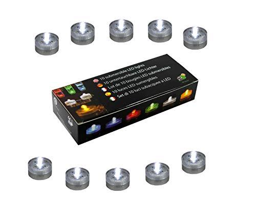 10 Luci Subacquee a LED Blu per Acquario, Piscina, Vaso, Matrimonio - Lumini Candele Impermeabili a Batteria di PK Green