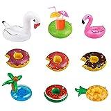TAZEMAT 9 pcs Soporte para Vasos de Piscina Soporte Vidrio Inflable Multicolor...