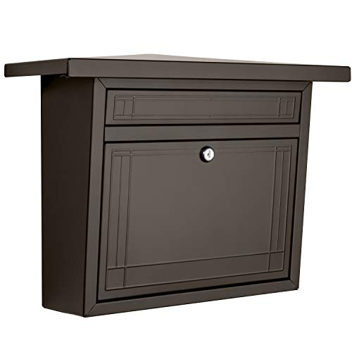 ARCHITECTURAL MAILBOXES 2427RZ-10 Frank Lloyd Wright Collection Wallmount Mailbox, Medium, Rubbed Bronze