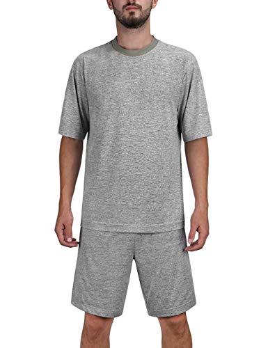 DISHANG Herren Kurzarm und Shorts Pyjama Set Soft Lightweight und Stretch Lounge Sport Nachtwäsche (Hellgrau, L)