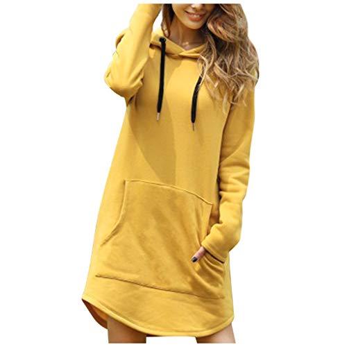 Lazzboy Kapuzenpullover Frauen Lange Länge Lose Feste Kordelzug Hoodie Pullover Mit Großer Tasche Damen Langarm Sweatshirts Tops Herbst Mini(Gelb,L)