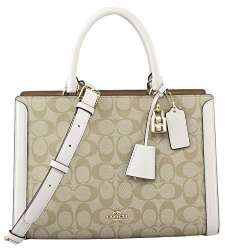 Coach Women's Signature Zoe Carryall Handbag in Light Khaki/Chalk, Style F69075.