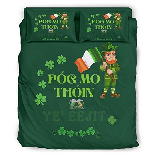 Pog Mo Thoin Irish St Patrick es Day Vierteiliges Bett Voll Bettwäsche Vier Sätze mit Reißverschluss Enthalten Maßgeschneidert 1 Bettbezug & 1 Bettdecke & 2 Kissenbezug White 240x264cm