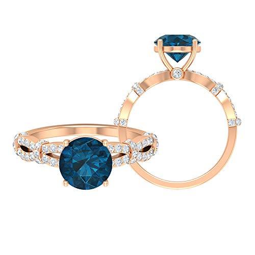 Anillo de compromiso de topacio azul Londres, piedras preciosas redondas de 2,61 quilates, anillo de solitario de diamante HI-SI de 8 mm, anillo de espiral de oro, 10K Oro rosa, Size:EU 55