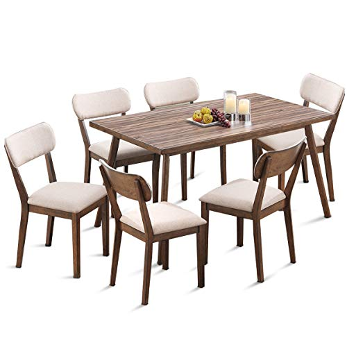 Giantex 7 Pcs Dining Table Set Kitchen Table and Chairs Mid Century Home Furniture Dining Chairs w/Wood Legs Upholstered Seat (7pcs Set)