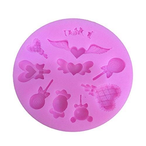 iTemer Moldes para Bizcochos Reposteria Jabones Chocolate Pastel Tartas Hornear Silicona Alas Amor Lollipop 1 pieza