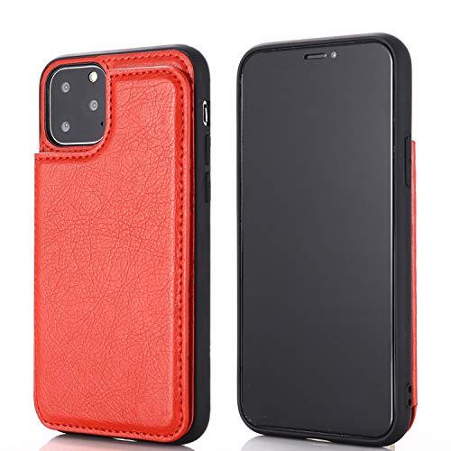 【 Viesa 】 2020最新版 背面カード 手帳型ケース iPhone 11 6.1 inch (6.1インチ) 対応 APPLE スマホ バックカバー ケース 手帳型 (レッド) 手作り 財布型 マグネット 薄 軽量 ポケット収納付き 背面カバー 手