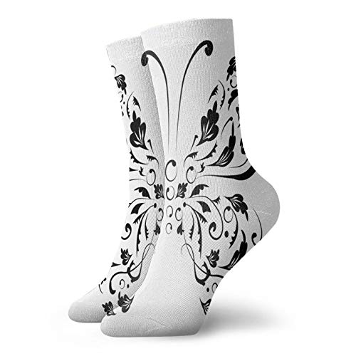 Calcetines suaves de longitud media de pantorrilla, silueta de polilla con espiral, línea de flores, ilustración animal, calcetines para mujeres y hombres, ideales para correr