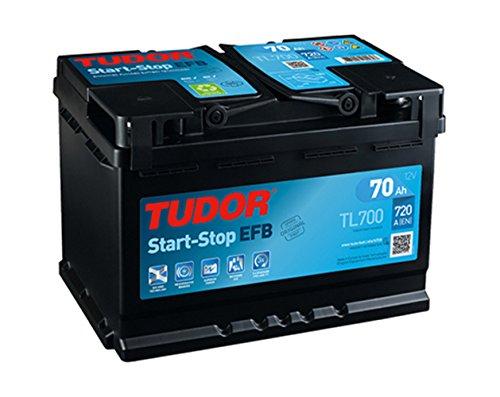 TUDOR 02 00 371 TL700 Batería de coche-12 V 70Ah 720A (EN) -Positivo a la Derecha-Medidas: 27,8 X 17,5 X 19