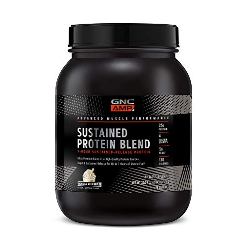 GNC AMP Sustained Protein Blend - Vanilla Milkshake, 28 Servings, High-Quality Protein Powder for Muscle Fuel*