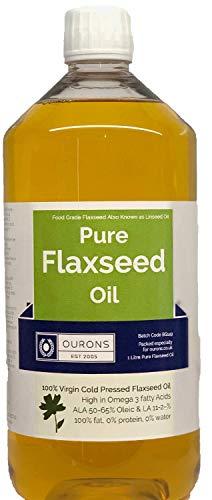 Olio di semi di lino per il mantello di cavalli e cani, di grado alimentare, 1 litro di...