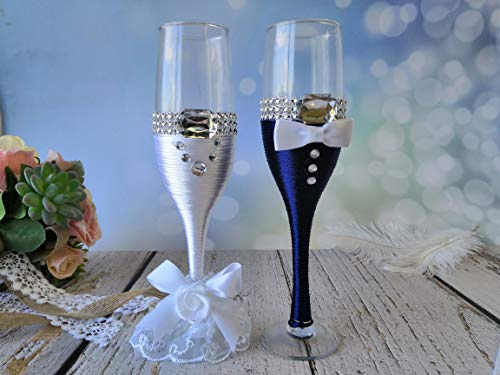 Abbie Home Bride and Groom Wedding Champagne Flute Set, Wedding Day Décor Mr Mrs Wine Glasses Wedding Toasting Glasses Set for Couples (Navy Glass Set)