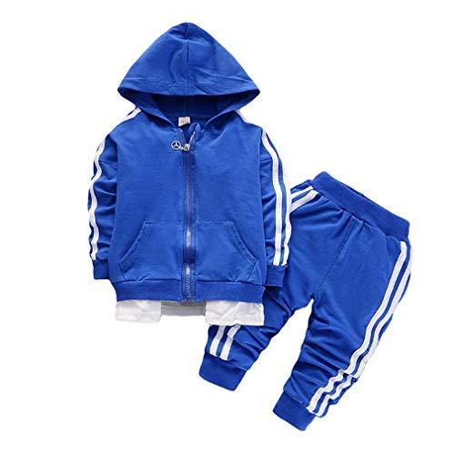 Yying Baby Kinder Set Kleidung Kapuzenpullover + Hose Jungen Mädchen 2Tlg Bekleidungsset Langarm Jacke Reißverschluss Strickjacke Und Lange Hosen Sport Freizeit Kleidung Outfits