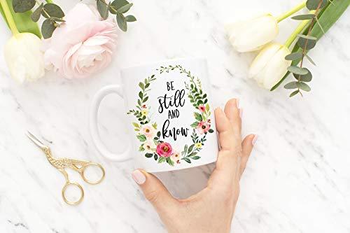 Wees nog steeds en weet koffie mok nog steeds en Ken Bijbel Verse Schrift Mok Christian Gift Boerderij Geschenken voor haar SKUIM10