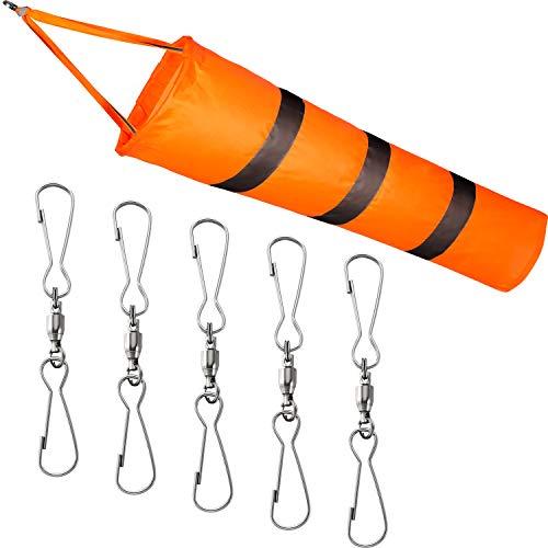Blulu Windsack Doppel Schwenkbarer Clip Kit 1 Stück Flughafen Windsack Orange Windsack Tasche mit Reflektierendem Gürtel und 5 Doppel Schwenkbarer Clip für Wind Richtung und Festigkeit Anzeige