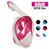 TriMagic Full Face Snorkel Mask, 180° Panoramic View Snorkeling Mask Set, Easy Breath, Anti-Fog, Anti-Leak, with Detachable for Camera Mount (Pink)