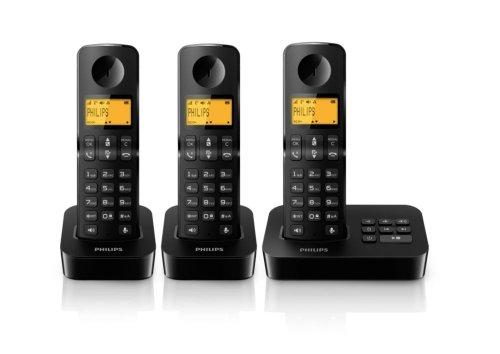 Philips D2053B/38 Schnurloses Telefon mit 3 Mobilteilen DECT (Anrufbeantworter, Freisprecheinrichtung am Mobilteil) schwarz