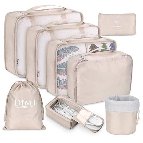 Koffer Organizer Set 8-teilig, kleidertaschen für Kleidung Kosmetik Schuhbeutel Kabel Aufbewahrungstasche, Reisen Organizer Tasche,Beige