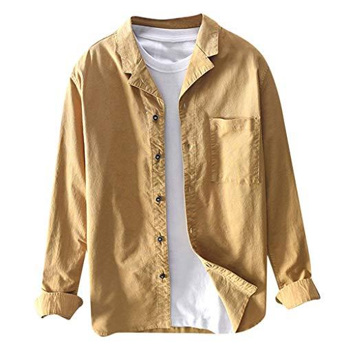 Kaiki Herren Hemd Shirt Jacket Regular Fit langärmelig Vintage Langarm Freizeitjacke Übergangsjacke Jeansjacke mit Tasche Knöpfe Brusttasche Outdoor Tops (M, Gelb)
