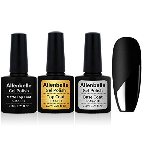 Allenbelle Base & Top coat And Matte Top Coat Smalto Semipermanente Nail Polish UV LED Gel Unghie (Kit di 3pcs 7.3ML/pc)
