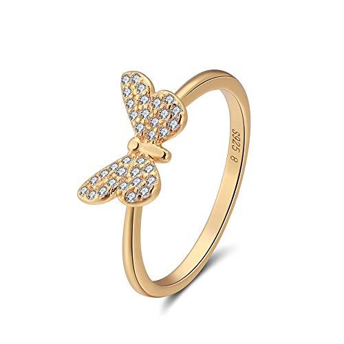 N/D 925 Sterling Silber Ring Schmetterling Strass Romantisch für Sie Verlobungsgeschenk Hochzeit Verlobungsgeschenk Geschenkset Gold 18,2 mm