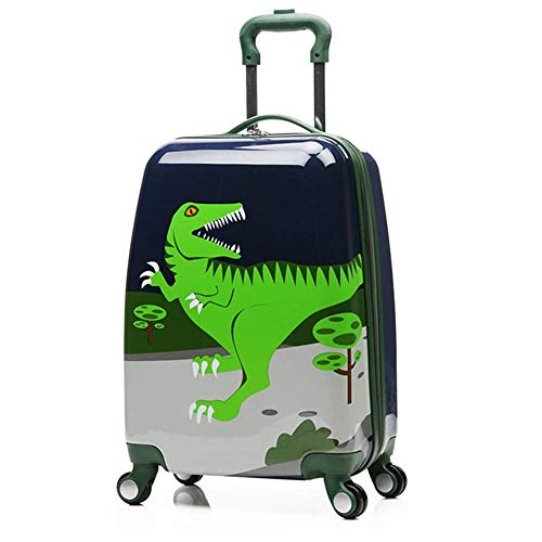 18' Children Dinosaur Rolling Suitcase Animal Cartoon Pattern Carry On with Universal Wheels 18 in Cartoon Luggage Bag Travel Luggage Case (Dinosaur, 18inch)