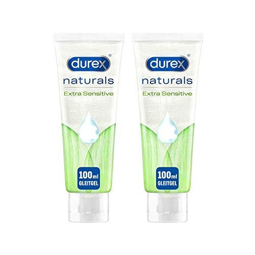 Durex Gleitgel auf Wasserbasis aus 100% natürlichen Inhaltsstoffen mit Intim-Balance-Formel Durex Naturals 2x 100ml in der Tube