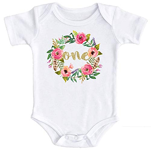 Girls 1st Birthday Onesie Watercolor Floral Boho Birhday Onesie Gold Glitter, Gold, 18-24 Months