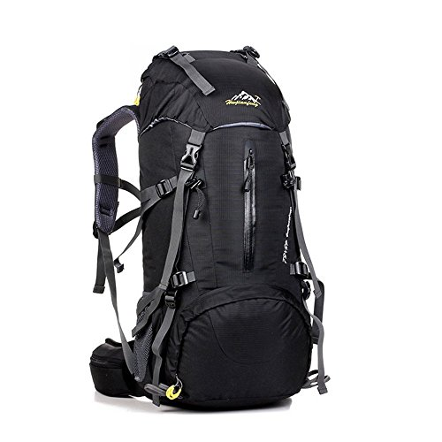 OCCIENTEC Hiking Backpack 50L Mountaineering Backpack 60L Rucksacks with Rain Cover for Men Women,Tear and Water-resistant Ideal for Camping Climbing Biking Trekking Travel Outdoor (Black-50L, 45+5)