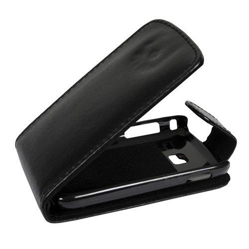 Mobilfunk Krause - Flip Hülle Etui Handytasche Tasche Hülle für Samsung GT-S6102 / S6102 (Schwarz)