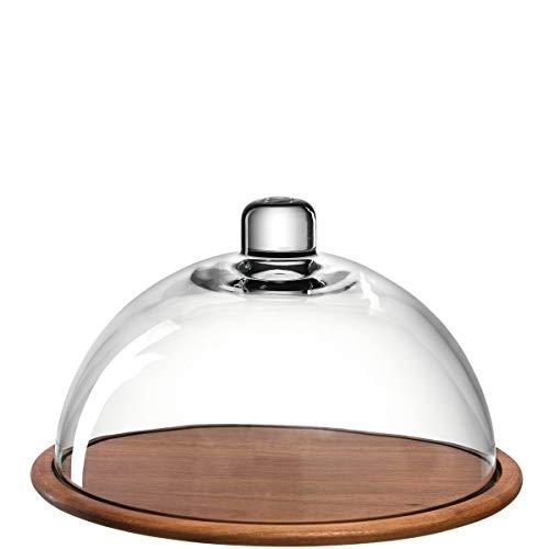 Leonardo Holzkäseplatte Glasglocke Cucina, Käsebrett aus Holz inklusive Glas-Haube, Durchmesser 28-cm, 2-teilig, 018519
