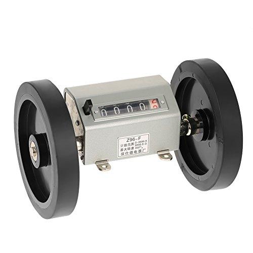 Fdit Roller-Type Meterzähler,Rolling Rad 5 Ziffern Zähler Rolling Wheel Digits 0-9999.9 Längenzähler Messlänge Max. Geschwindigkeit 350 RPM Grau Reset