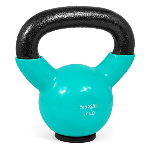 Yes4All Vinyl Coated Kettlebells – Weight Available: 5, 10, 15, 20, 25, 30, 35, 40, 45, 50 lbs (M. 10lbs - Rubber Base - Mint)