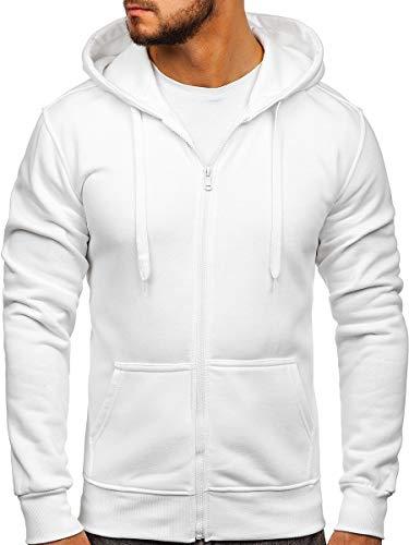 BOLF Herren Kapuzenpullover Sweatjacke Hoodie Sweatshirt mit Kapuze Reißverschluss Basic Einfarbig Fitness Training Sport Style J.Style 2008 Weiß M [1A]
