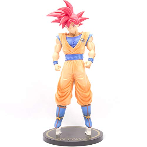 Dragon Ball Actions Figures Large Red Hair Son Goku Statue Figurine Toppers Set Collection Birthday Gifts PVC - 11.8 Inch image