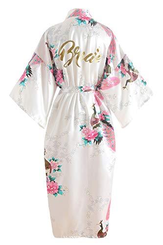 YAOMEI Damen Braut Brautjungfer Morgenmantel Kimono Satin Nachtwäsche Bademantel Robe Funkeln Pfau Morgenmantel Negligee Schlafanzug (Brustbreite: 126cm, Fit für S bis 2XL, Weiß Braut)